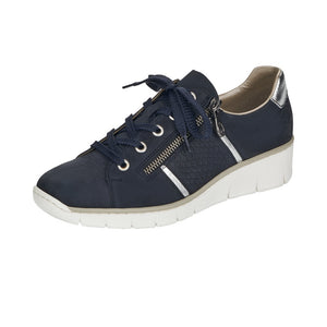 Rieker 53711-14 Ladies Navy Blue Leather Lace Zip Up Wedge Trainers