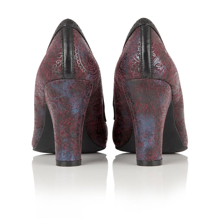 Lotus Hallmark Elexis Burgundy Flower Print Shoes - elevate your sole