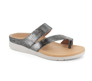 Strive Cadiz Black Glamour Leather Silver Elevated Sandals