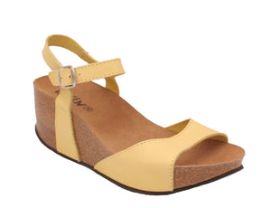 Oxygen Malaga Ladies Yellow Leather Wedge Sandals
