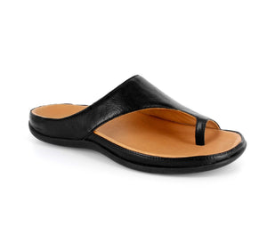 Strive Capri Black Leather Toe Post Sandals