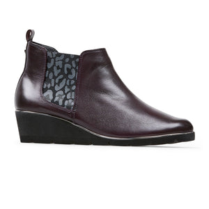 Van Dal Russet 3158 Ladies 5301 Bordo Leather Wedge Ankle Boots E Fit