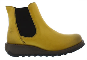 Fly Salv Ladies Rug Mustard Leather Ankle Chelsea Boot