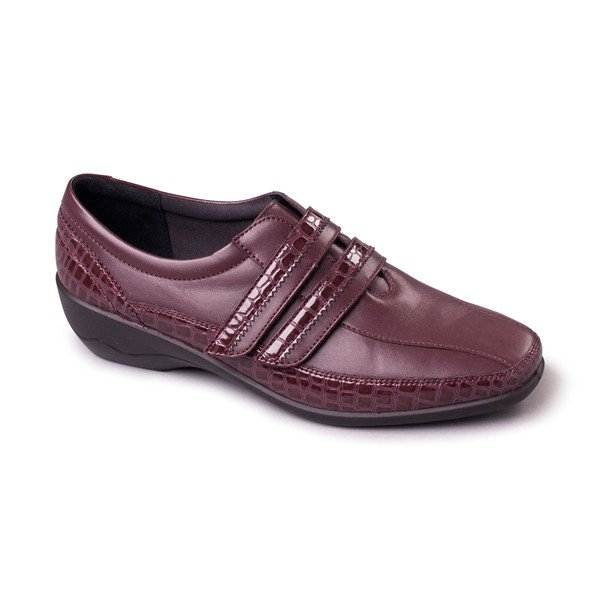Padders Velvet Burgundy Leather Wide fitting Shoes