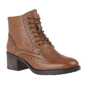 Lotus Amira Tan Leather Block Heel Lace Up Ankle Boots