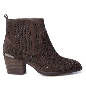 Carmela 66832 Taupe Brown Suede Heeled Ankle Boots - elevate your sole