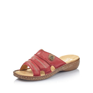 Rieker 62876-33 Ladies Red Leather Mule Sandals