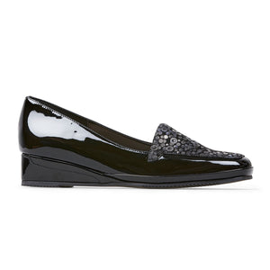 Van Dal Verona III 0639 Ladies 1003 Black Patent Sequin Print  Loafers