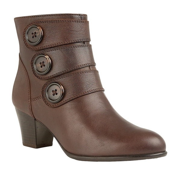 Lotus Locasta Brown Leather Ankle Boots