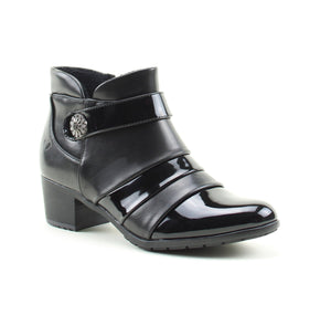 Heavenly Feet Claire Black Patent Combi Heeled Ankle Boots - elevate your sole