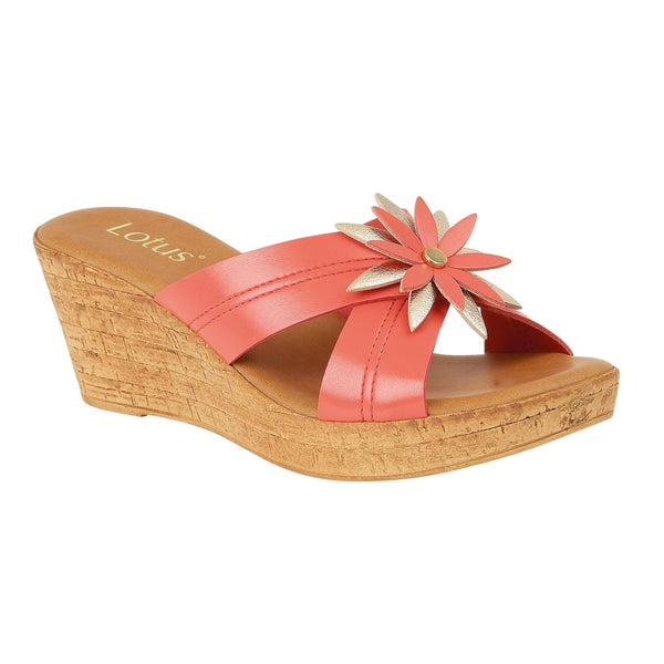 Lotus Japonica Coral & Pink Wedge Sandals