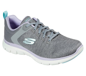 Skechers 149307 Flex Appeal 4.0 Air Cooled Memory Foam Ladies Grey and Lavender Lace Up Trainers