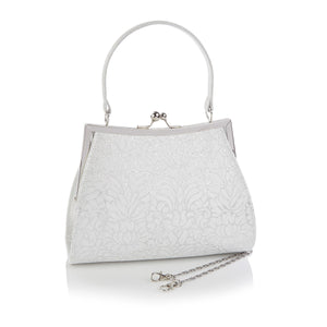 Ruby Shoo Toulouse Ladies White and Silver Evening Clutch Handbag