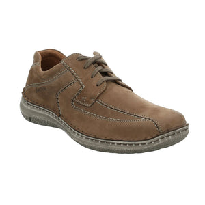 Josef Seibel Anvers 08 Mens Taupe Brown Nubuck Leather Wide Fit Lace Up Shoes