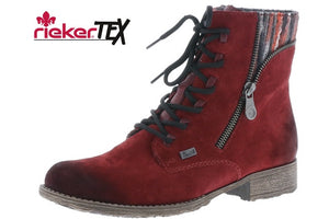 Rieker 70840-35 Red Suede Leather Lace Zip Up Ankle Combat Boots