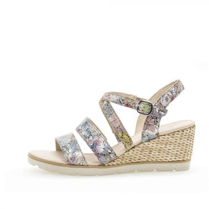 Gabor 25.750.33 Multi Floral Leather Wedge Heel Sandals