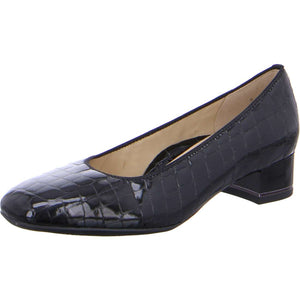 Ara 12-11838-26 Ladies Black Patent Croc Leather Ballerina Heeled Slip On Shoes