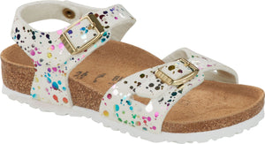 Birkenstock Rio Girls Confetti White Double Buckle Sandals