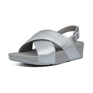 Fitflop K03-011 Lulu Cross Back-Strap Ladies Silver Leather Mule Sandals