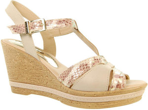 Adesso Tamsin A4251 Beige Leather T bar Wedge - elevate your sole