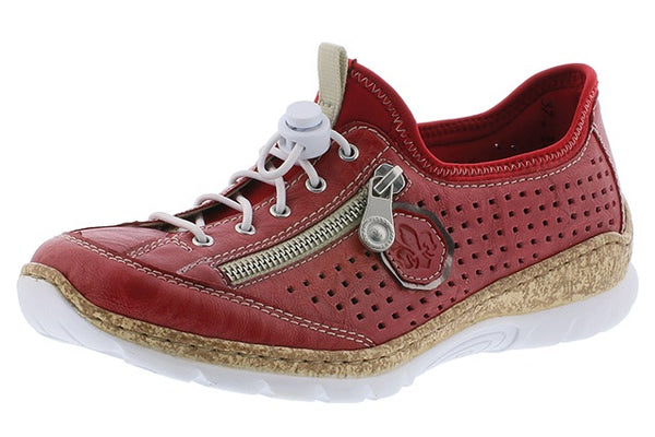 Rieker N4296-35 Ladies Red Slip On Walking Shoes