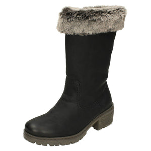 Rieker Y4590-00 Black Mid Calf Fur Lined Boots