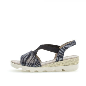 Gabor 22.753.16 Blue Elasticated Wedge Sandals