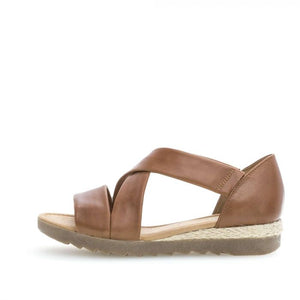 Gabor 22.711.55 Peanut Brown Leather Slip On Sandals - elevate your sole