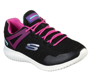 Skechers 81538L Ultra Flex Rainy Daze Girls Waterproof Black Hot Pink Trainers