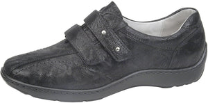 Waldlaufer 496301 Henni Black Leather Print Hook and Loop Shoes H / E Fit - elevate your sole