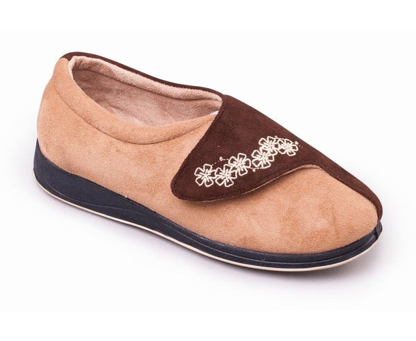 Padders Hug Camel Ladies Wider Fitting Slippers