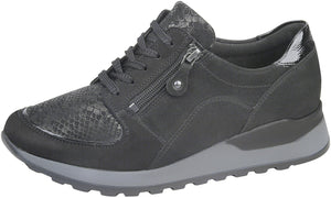 Waldlaufer H64007 Hiroko Soft Ladies Black Nubuck Leather Lace Up Shoes H Fit - elevate your sole
