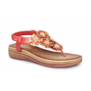 Lunar JLH 065 Sirena Red Ladies Toe Post Sandal - elevate your sole