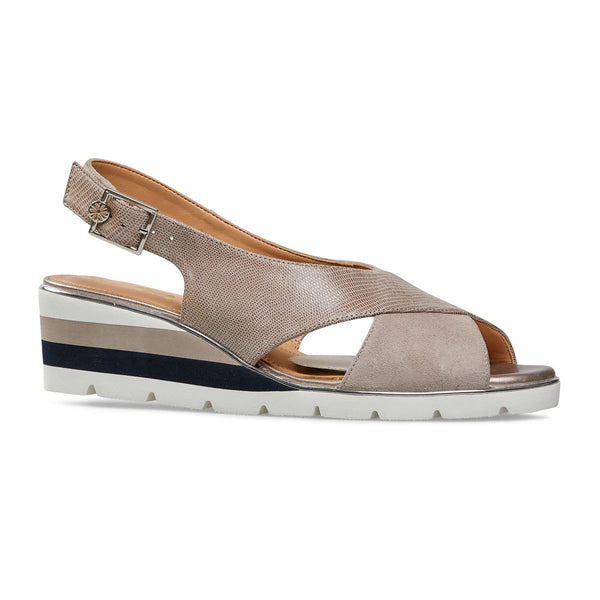 Van Dal Madras Fawn Suede & Lizard Prt Leather Sandals