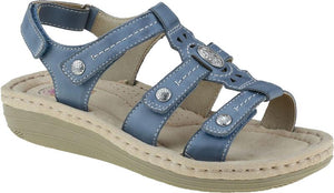 Earth Spirit 30283 Lynbrook Moroccan Blue Leather Hook and Loop Strappy Sandal