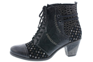 Remonte D8786-04 Ladies Black Leather Heeled Ankle Boots