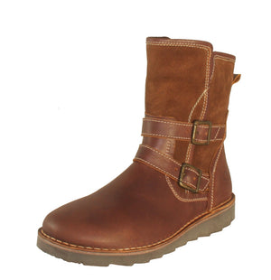 Oxygen Liffey Waxy Brandy Brown Zip Up Ankle Boots - elevate your sole