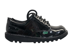 Kickers Kick Lo Core Black Patent Leather School Shoes