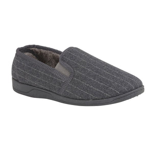 Lotus Alfie Mens Grey Stripe Slipper