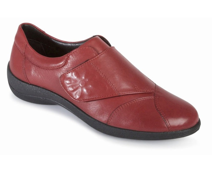 Padders Rose Wine Leather Wide fitting Velcro Shoes - elevate your sole