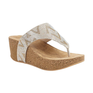 Lotus Patsy Ladies Gold Silver Toe Post Wedge Sandals