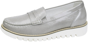Waldlaufer 926504 140 230 Habea Ladies Taupe Silver Chunky Slip On Loafers