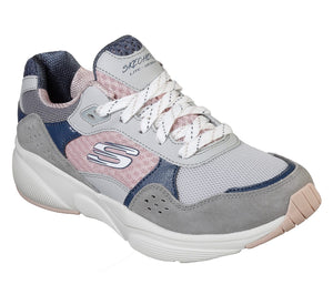 Skechers 13019 Charted Grey And Pink Air Cooled Memory Foam Trainers - elevate your sole