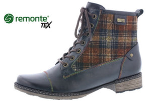 Remonte D4354-14 Navy Combi Leather Water Resistant Lace Zip Up Combat Ankle Boots - elevate your sole
