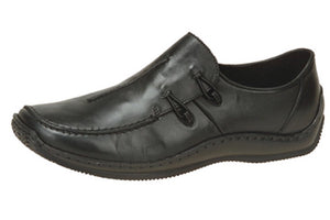 Rieker L1751-00 Black Leather Slip On Shoes