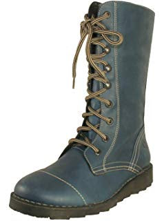 Oxygen Taff Marine Blue Leather Mid Calf Lace Zip Up Boots