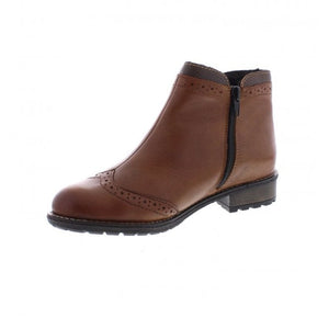 Rieker Y3361-22 Chestnut Brown Zip Up Ankle Boots
