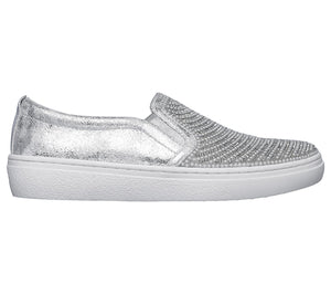 Skechers 73769 Goldie Shiny Shaker Silver Air Cooled Memory Foam Slip On Shoes - elevate your sole