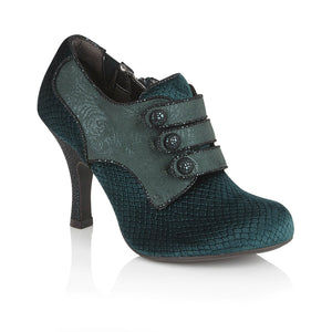 Ruby Shoo Octavia Ladies Green Faux Velvet Heeled Shoe Boots
