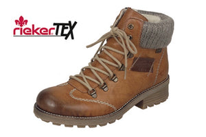 Rieker Z0444-24 Brown warm Lining Lace Zip Up Water Resistant Ankle Walking Boots